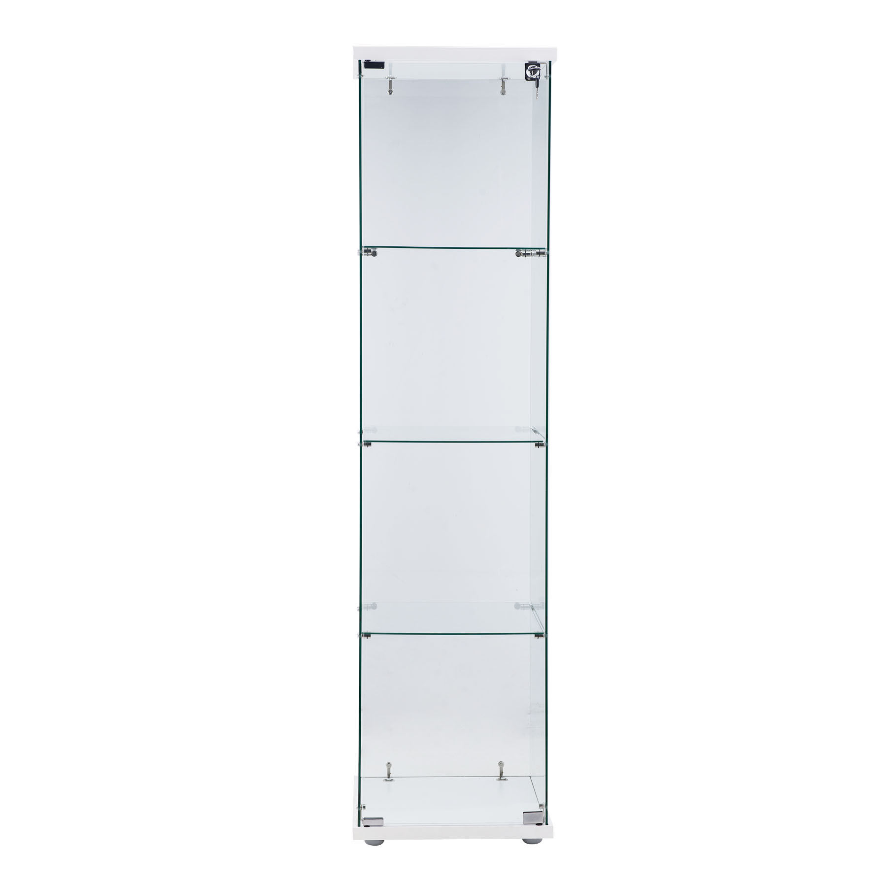 Free Standing Kitchen Cabinets With Glass Doors: Glass Curio Cabinets Showcase Locking Hinged Doors 4